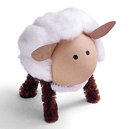 Sheep - paint wooden egg, cotton balls, pipe cleaner legs, paper ears