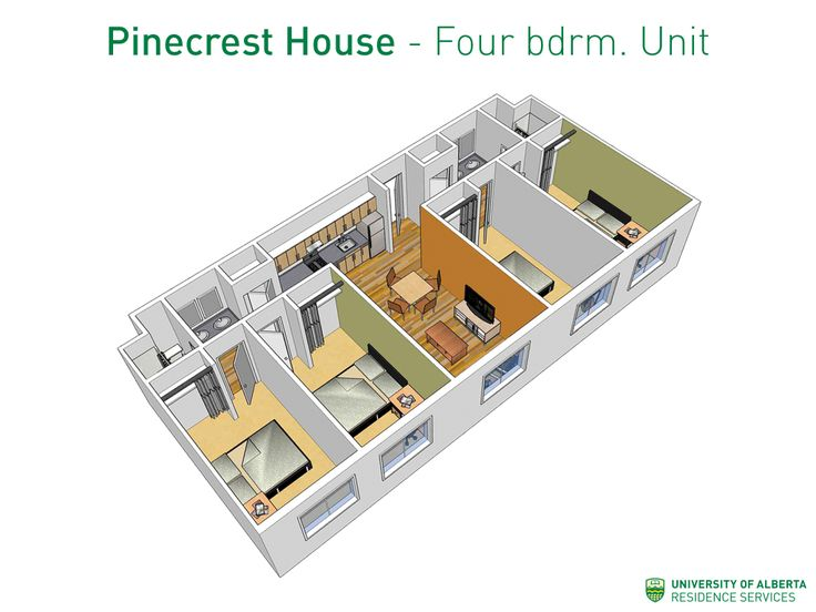 Four-bedroom unit layout for Pinecrest House at UAlberta!