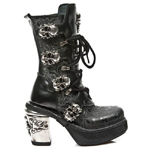 New Rock Boot. Black leather boot with floral leather panels, skull buckles  and metal look skull heel.