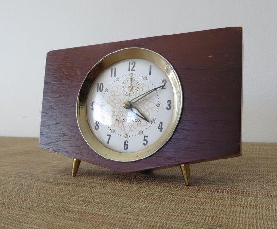 Mid Century Modern Westclox Walnut Wind-up Alarm Clock - Penthouse Model - Mantel Clock    This walnut Mid Century Modern Westclox is an old