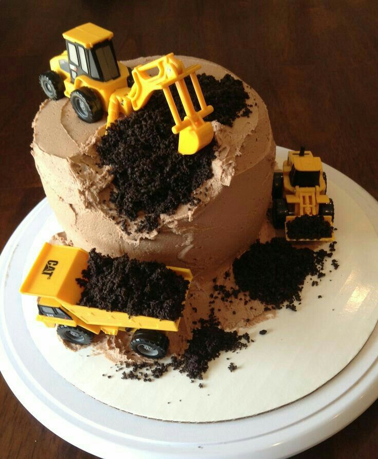 Birthday cake excavator and truck