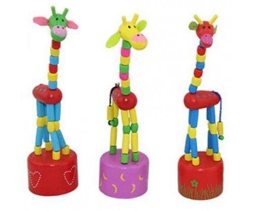 Táncoló zsiráf - színes fajáték - a régi klasszikus játék most fából elkészítve!