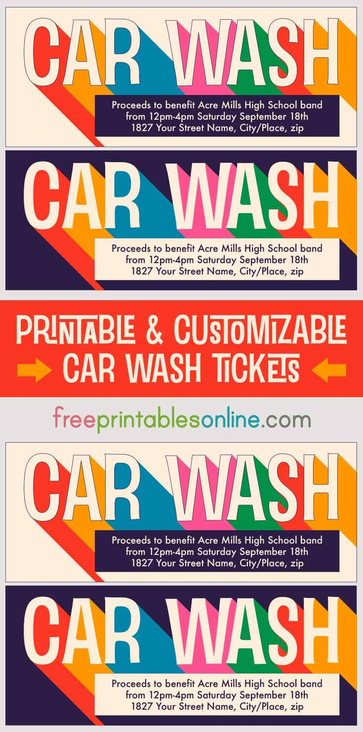 Printable Car Wash Tickets Boys Sports Car Wash Car Wash