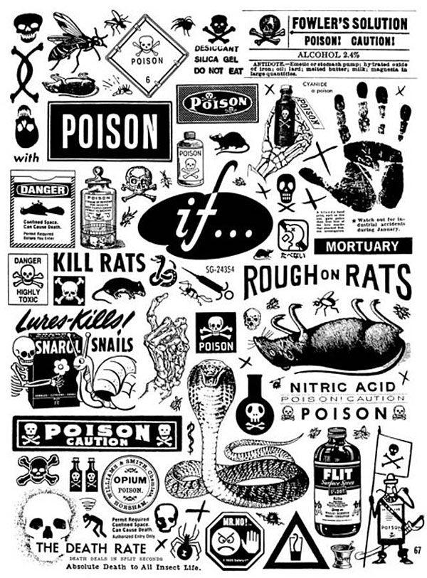 vintage clip art, ephemera, Craphound Magazine, death, skulls, bird, dark, gig poster, vintage advertising, graphic design, Sean Tejaratchi, motorcycle clip art, grave, design inspiration, Art Chantry, punk, dead vermin, rats, poison