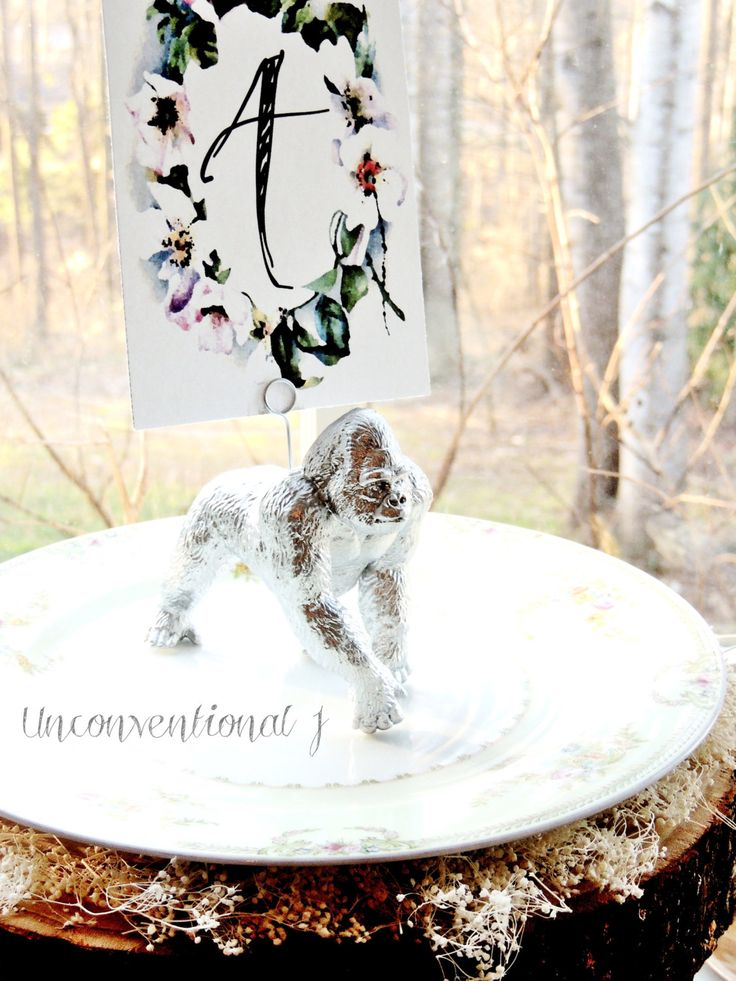 Wedding Table Number Holder Silver | Wedding Table Stands | Wire Photo Sign Card Holder | Gold Gorilla Zoo Safari Animal Unique Table Decor by unconventionalJ on Etsy