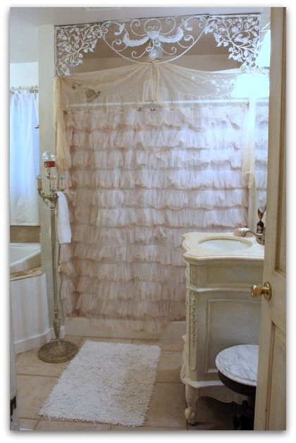 Tea Dye Shower Curtain...and redecorate Shabby Chic Bathroom...from Karla's Cottage