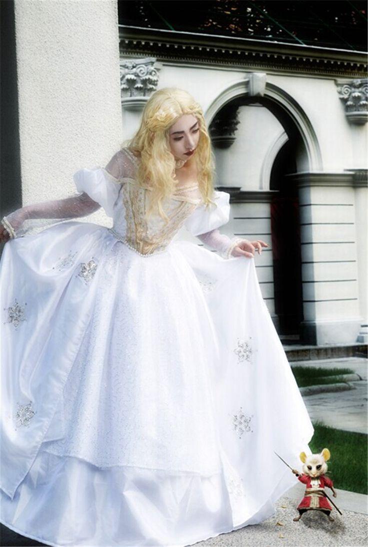 2016 Halloween Cosplay Costume Alice in Wonderland White Queen Dress Gown WHITE