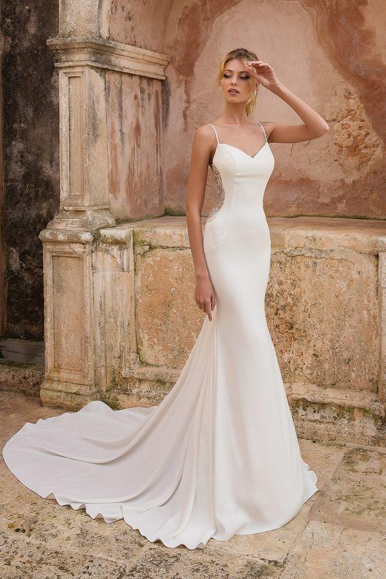 2019 straps white mermaid wedding dress, formal by PrettyLady on