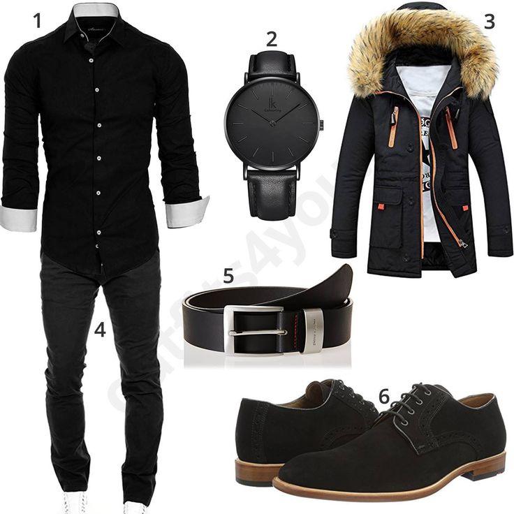 Schwarzes Herrenoutfit mit Hemd, Chino und Steppjacke – Dana Crawford
