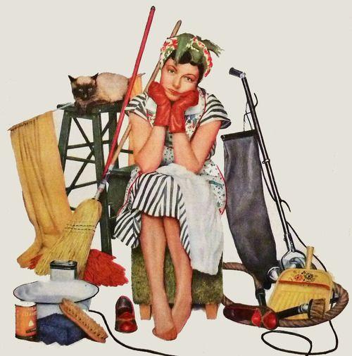 The Joy of Housework, art by Gene Pelhem. Detail from June 1954 Coronet Magazine cover.
