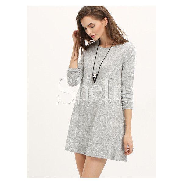 Grey Long Sleeve Casual Dress (20 BAM) ❤ liked on Polyvore featuring dresses, grey long sleeve dress, gray dress, long sleeve dress, grey dress and gray long sleeve dress