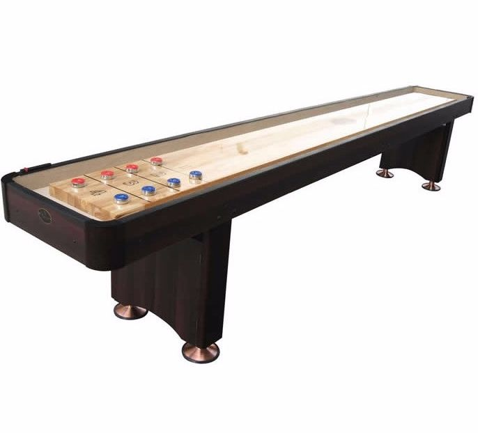 Playcraft Woodbridge 9' Shuffleboard Table in Espresso available for sale and free shipping by Shuffleboard Planet! Huge selection of shuffleboard tables and...