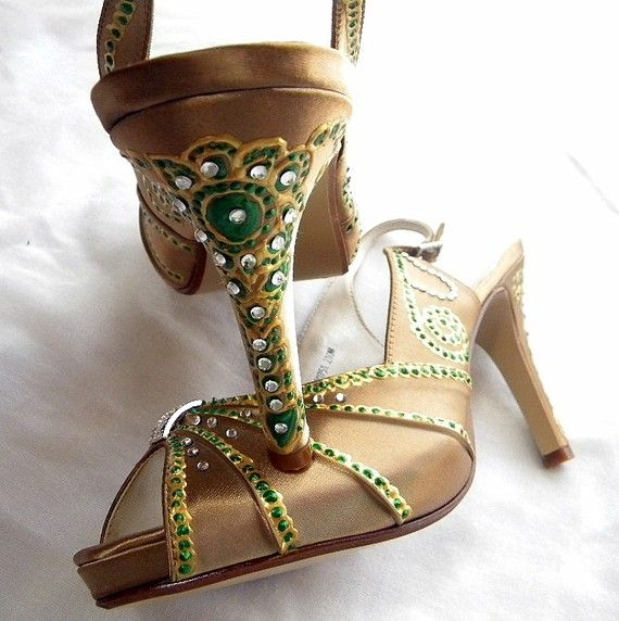 Hand painted Indian design gold wedding shoes