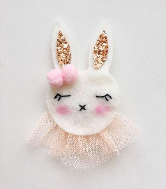 Bunny Hairclip Wool Felt Bunny Clip by TheWinkingApple on Etsy