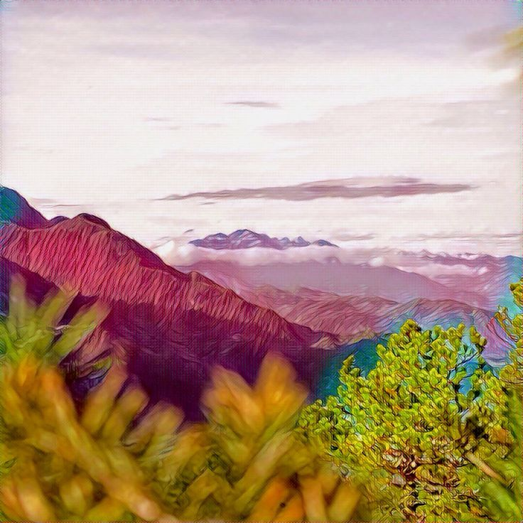 Up in the mountains. This #painting was made from a simple photo with a #Prisma app. #Art #Illustration #Drawing #Mountains #Landscape #Nature #Canada