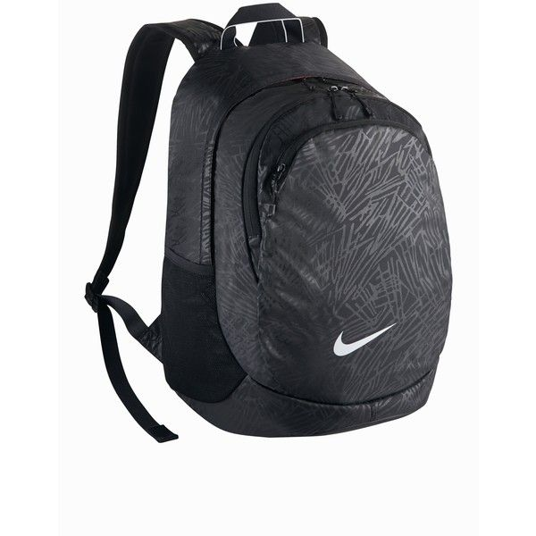 Nike Legend Backpack Solid (£55) ❤ liked on Polyvore featuring bags, backpacks, accessories sport, black, sports fashion, womens-fashion, nike bag, knapsack bags, zip bags and logo bags