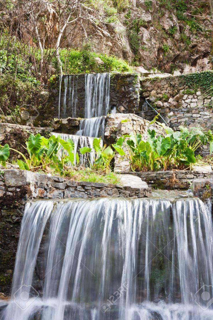 Waterfalls of spring water, Argyroupoli, Crete, Greece.