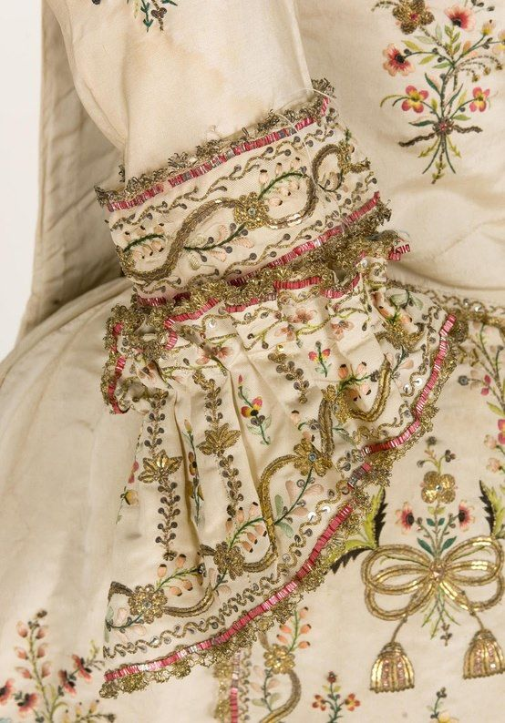 Sleeve detail on dress sleeve; c. 1770.