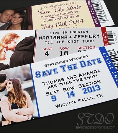 Popular 2x5.5 inch event ticket save the date magnet design. For a sports themed wedding, a concert themed wedding, or just about any event!