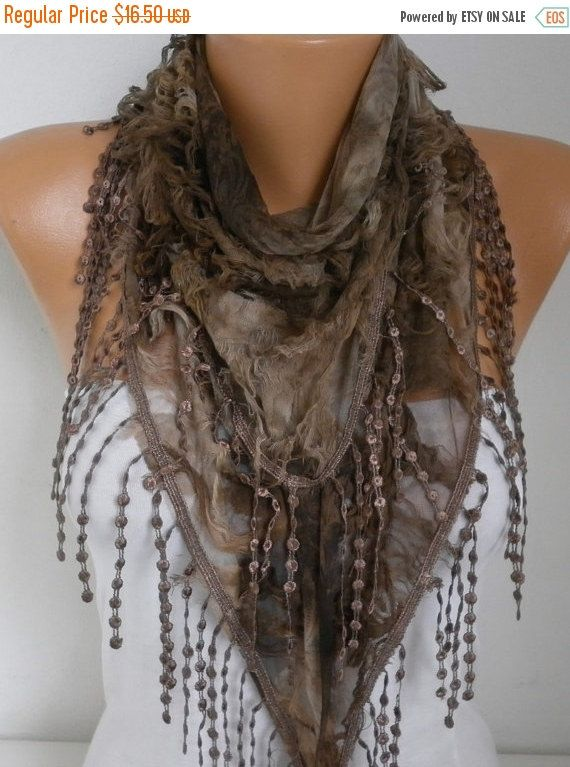 Brown Ombre Butterfly Scarf Spring Summer Scarf by fatwoman