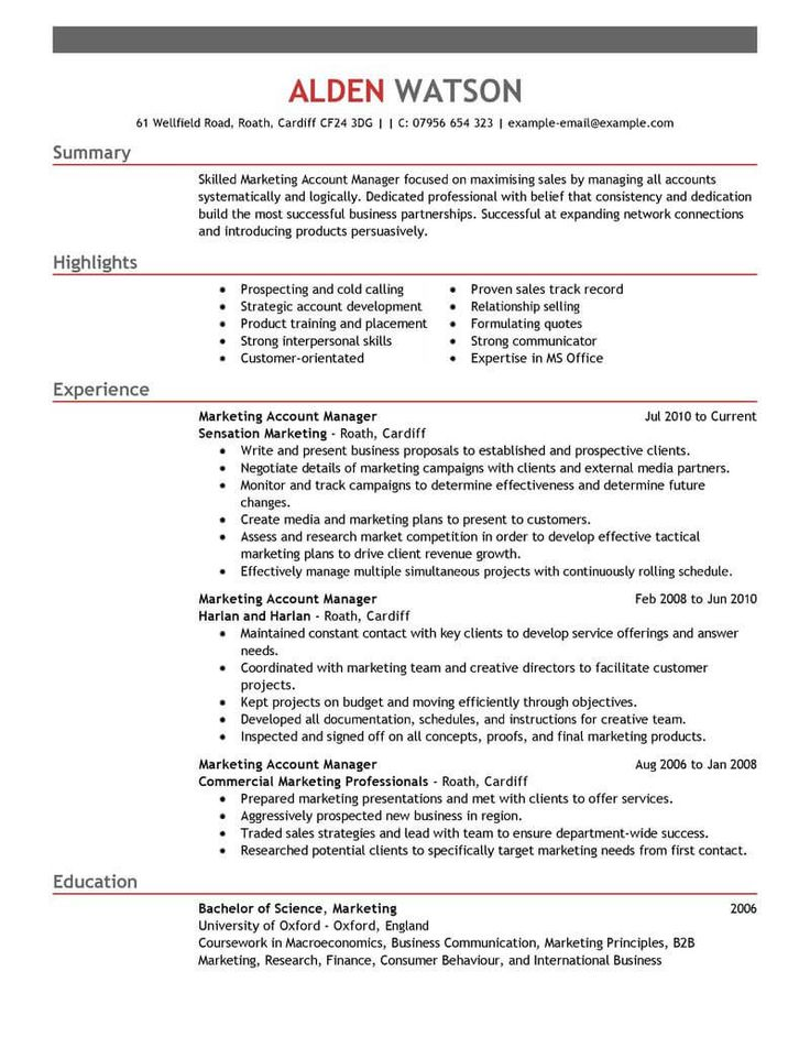 Account Manager Resume examples, Manager resume, Resume
