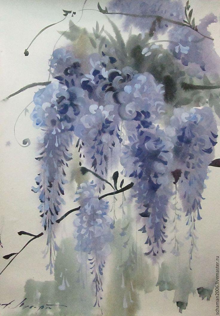 Купить Акварель, формат А3,Глициния - бледно-сиреневый, глициния, акварель, романтические цветы, весна