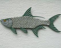 Tarpon Fish Large Metal Bottle Cap Fish Wall Art