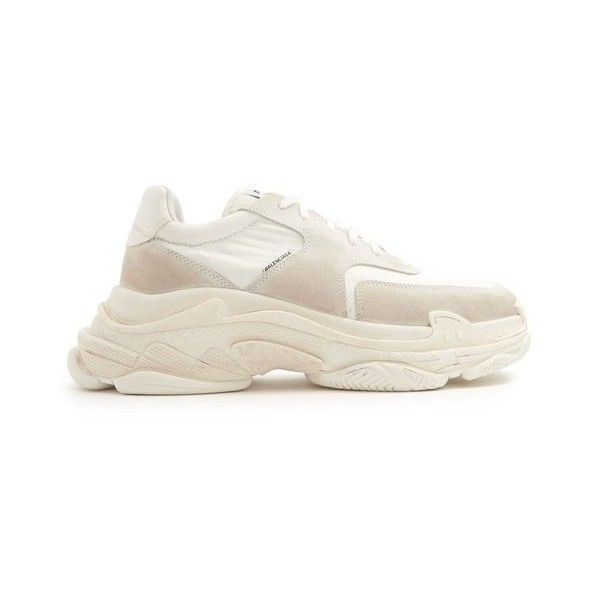 Balenciaga Triple S low-top trainers ($850) ❤ liked on Polyvore featuring men's fashion, men's shoes, men's sneakers, shoes, white, mens low profile shoes, mens low profile sneakers, balenciaga mens sneakers, mens white sneakers and balenciaga mens shoes