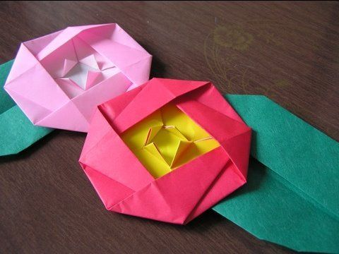 "Japanese Traditional Origami ""Camellia"""