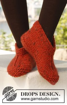 "Knitted DROPS slippers in ""Eskimo"". Size 35 – 43. ~ DROPS Design (MM~knit for a size 10 foot, had to severely alter pattern with increases and short rows)"