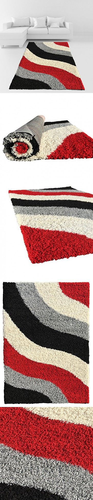 Soft Shag Area Rug 5x7 Geometric Striped Red Grey Black Shaggy Rug - Contemporary Area Rugs for Living Room Bedroom Kitchen Decorative Modern Shaggy Rugs