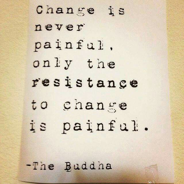 Change is never painful. Only the resistance to change is painful. - The Buddha