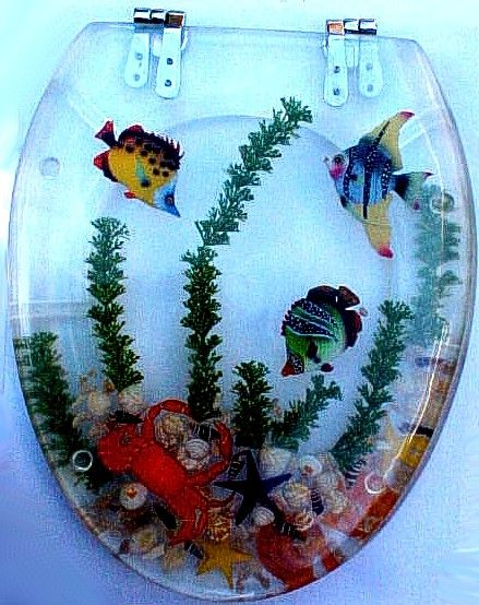 Acrylic toilet seat with fish and crab  Home Decor