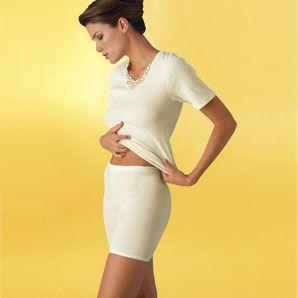 Damen-Spenzer 1/4 Arm mit 20% Angora: Sangora für Damen mit 1/4 Arm, elegantem Ätzmotiv undEinfassband