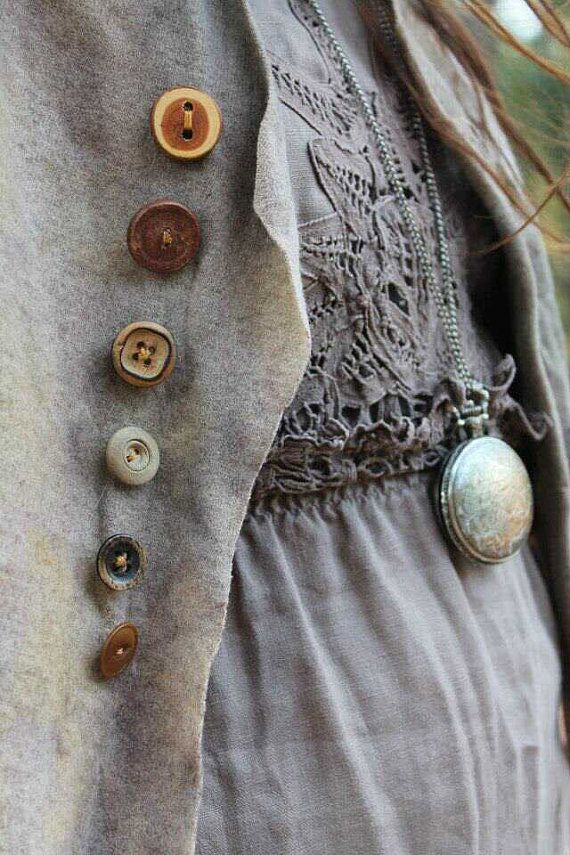 vest of wool dyed with rusty bottle tops and leaves striped cotton backing and vintage buttons