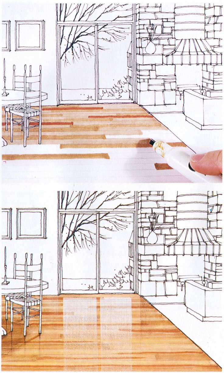 Rendering drawing with markers is cool old school from michael doyles color drawing 1980 interior design sketchesmarker