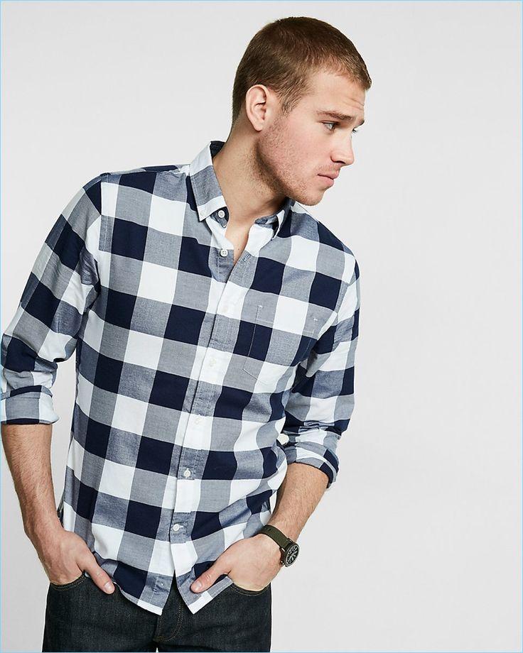 Express Men's Blue Buffalo Check Shirt