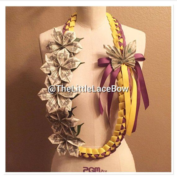 Graduation Money Lei-Grosgrain Ribbon w/ 5x Flowers w/Leafs and 1x Butterfly (17 Dlls) STYLE O
