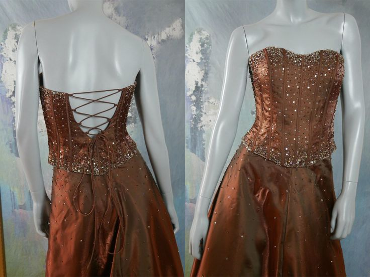 Strapless Evening Dress, Elegant Golden Bronze Bodice & Skirt Evening Gown Two-Piece Set w Silver Sequins and Diamanté Beading: 6 US, 10 UK by YouLookAmazing on Etsy