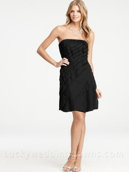 Black Strapless Layered Bridesmaid Dress