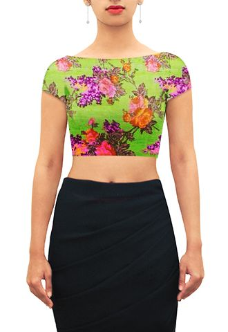 Lime green floral print boat neck with cap sleeves