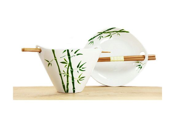 Hand Painted Ceramic Noodle Bowl With chopsticks by SylwiaGlassArt, $38.00