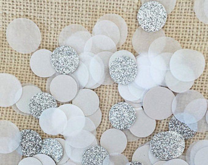 Glitter plata círculo confeti de boda, decoración de mesa, confeti de fiesta, decoración despedida de soltera, Baby Shower, confeti de papel, plata brillo círculos