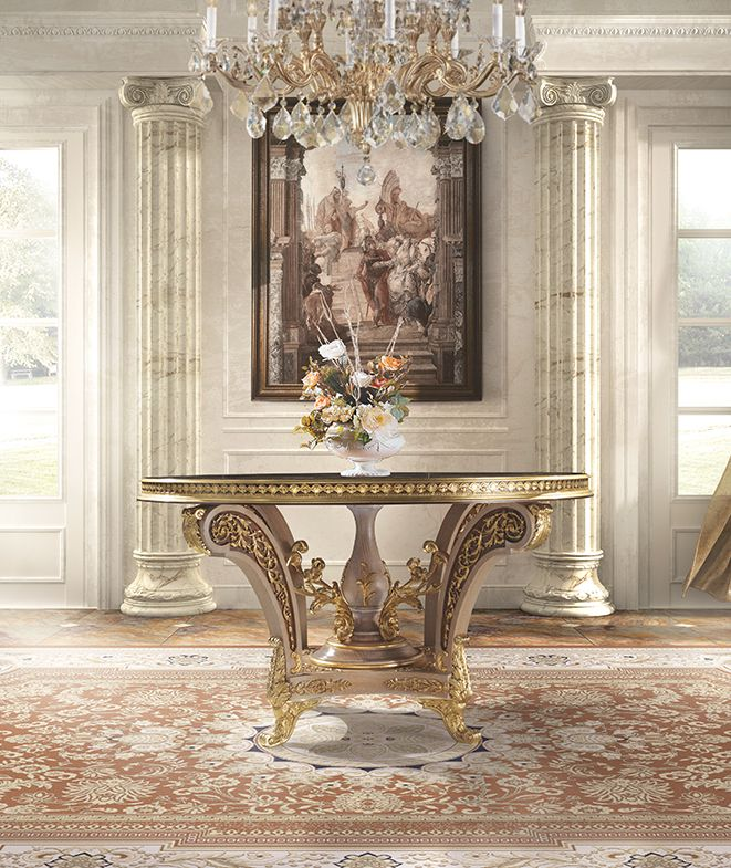 Mother of pearl inlaid table with bronzes