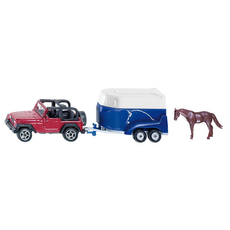 De Jeep Wrangler met een paardentrailer van het merk Böckmann is de klassieke combinatie om de paarden ook ver van verharde wegen te laten lopen. Zowel de carrosserie van de jeep als het chassis van de paardentrailer zijn van metaal. De laadklep van de trailer kan worden geopend. Er is één paard als accessoire bij de verpakking inbegrepen. Afmeting: 14,5 x 4 x 4,5 cm - Siku 1651 Personenauto Met Paardentrailer