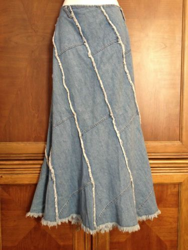 frayed denim skirts long | ... Large Jypsy Jeans Long Denim Skirt Raw Frayed Hem Edges A-line Flare