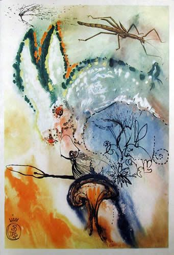 Alice In Wonderland as illustrated by surrealist Salvador Dali