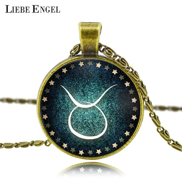 LIEBE ENGEL Zodiac pendant necklace glass cabochon antique Bronze necklace art picture statement necklace Constellation fashion