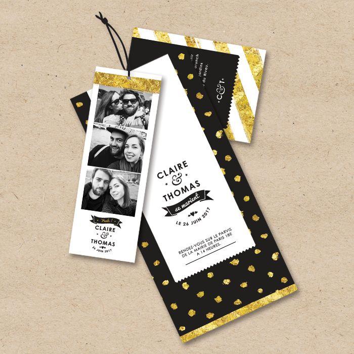 Mariage Glamour. Invitez vos amis de façon originale et personnalisée avec notre invitation de mariage photomaton. Design a rayures et pois noirs et dorés. Logo personnalisé.