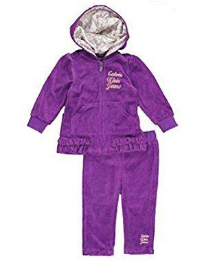 Infant Girls Purple Velour Jacket Pants Set Baby Track Suit